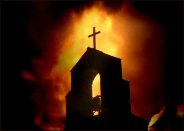 Church-Steeple-and-Fire